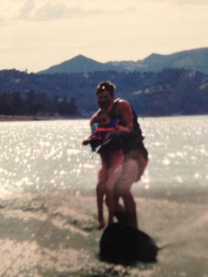 Kaela's Dad, Dennis never wanted his little girl to miss out on anything. This is them wake boarding!